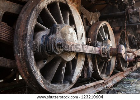 rusty wheels of old steam locomotive close up
