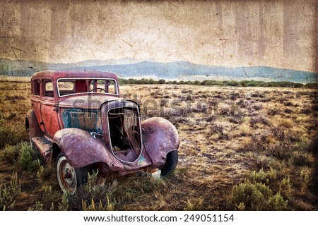rusty wrecked car  vintage style