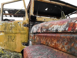 rusty yellow old jeep car damaged condition