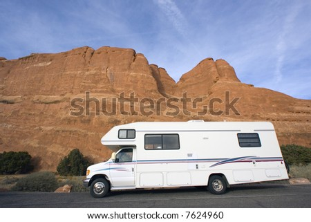 RV against the rocks of Zion National Park