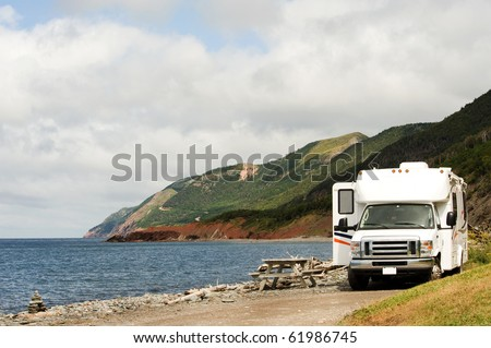 RV at picnic area, Cape Breton Highlands National Park, Nova Scotia