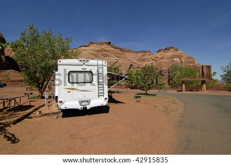 RV Camper in an RV Park near Monument Valley on the Utah and Arizona border.