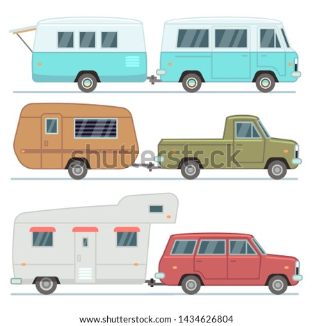Rv cars, travel mobile houses, family camping trailers, motorhome vehicles set isolated. Car trailer vehicle with house illustration