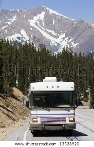 RV driving the mountains of Colorado