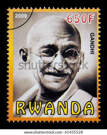 RWANDA - CIRCA 2009: A postage stamp printed in Rwanda showing Mohandas Karamchand Gandhi, circa 2009