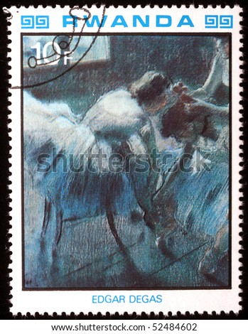 RWANDA - CIRCA 1984: A stamp printed in Rwanda shows draw by artist  Edgar Degas - Four Ballerinas Straightening Up in the Wings - fragment, circa 1984