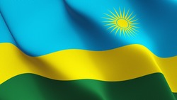 Rwanda flag waving on wind. Rwandan flag blowing in the wind with highly detailed fabric texture. Realistic rendering quality.