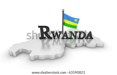 Rwanda Tribute/Digitally rendered scene with flag and typography