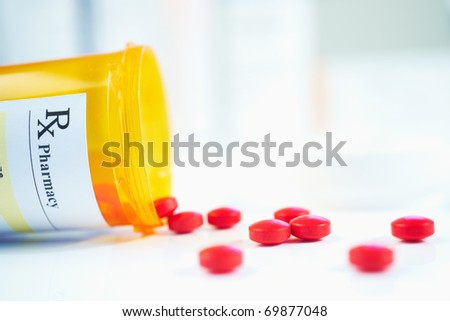 RX prescription drug bottle selective focus