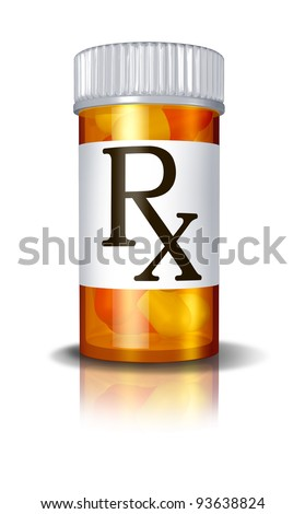 RX prescription drugs pill bottle  as a medical symbol of the health care system and pharmacy services for the elderly and sick patients who are facing financial hospital insurance burdens.