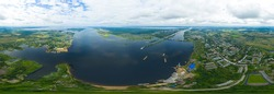 Rybinsk, Russia. Rybinsk Gateway system. Rybensoe reservoir. Aerial view. Panorama 360