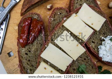 rye bread with cheese and dried pomi... Zdjęcia stock ©