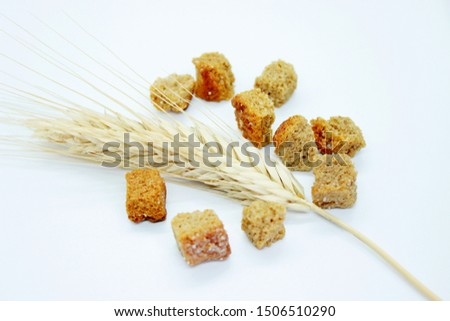 Rye crackers and rye spike located on a white background #1506510290