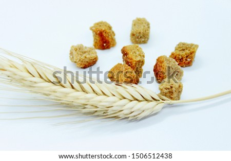 Rye crackers and rye spike located on a white background #1506512438