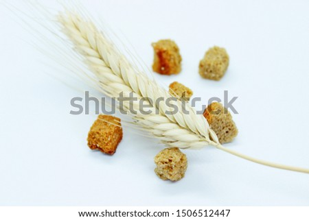 Rye crackers and rye spike located on a white background #1506512447