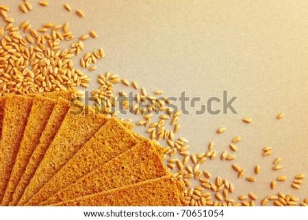 Rye crispbread with grains of wheat, healthy food