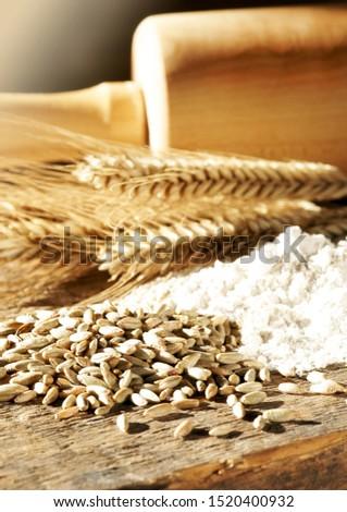 Rye grains, rye flour and rye ears, upright format #1520400932