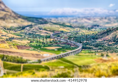 S-Curve Highway Overpass, Sicily, Italy. Tilt-shift effect applied - stock photo