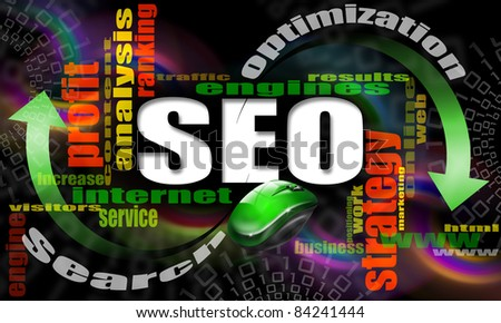 S.E.O. - search engine optimization web word cloud and mouse