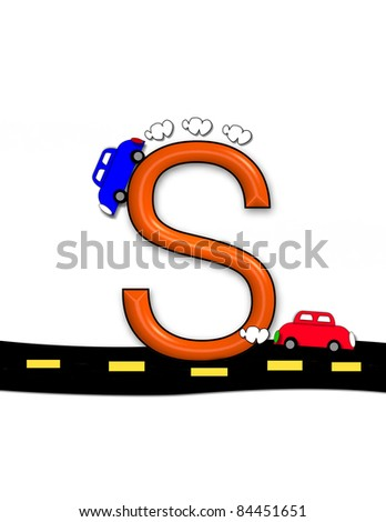 "S, in the alphabet set ""Highway"", sits on a black highway with a yellow dashed line.  Letter is a primary color and has automobiles driving over and around letter."