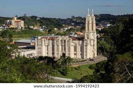 São Bento do Sul, SC; Brazil - March 2, 2019: Mother Church of the city of São Bento do Sul in the state of Santa Catarina. Side view with a beautiful nature around.