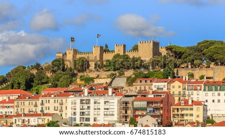 São Jorge Castle is a Moorish castle occupying a commanding hilltop overlooking the historic centre of the Portuguese city of Lisbon and Tagus River.