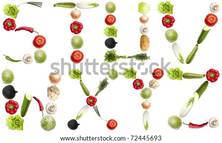 S to Z letters made of different vegetables