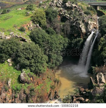 Saar Waterfalls. Golan Heights (Israel). - stock photo