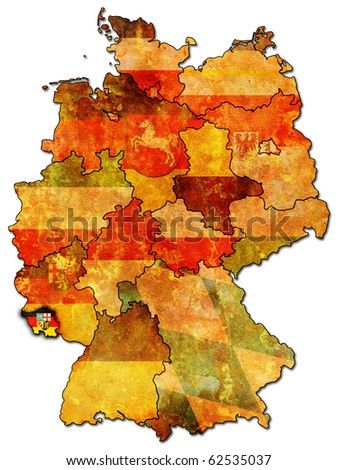 Saarland on old administration map of german provinces (states) with clipping path