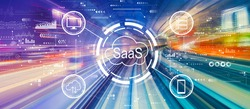 SaaS - software as a service concept with abstract high speed technology POV motion blur