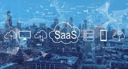 SaaS - software as a service concept with downtown Chicago cityscape skyscrapers