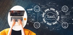 SaaS - software as a service concept with person using a laptop on a white table