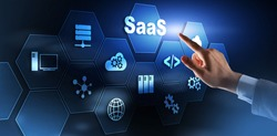 SaaS, Software as a Service. Internet and networking Technology concept.
