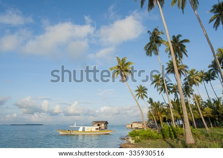 Sabah, Malaysia-May 29, 2010: Beautiful landscape and Sea gypsy village in Maiga Island, Malaysia. #335930516