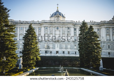 Sabatini Gardens in the Royal Palace in Madrid, classical architecture