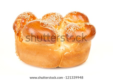 Sabbath challah with white seed isolated on white background