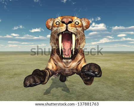 Saber-Toothed Cat Smilodon Computer generated 3D illustration