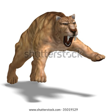 saber-toothed tiger. 3D render with clipping path and shadow over white - stock photo