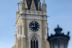 Saborna church tower,church with clock,building from the Middle Ages and blue sky  Belgrade, Serbia