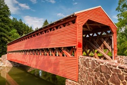 Sachs Covered Bridge, a Town truss covered bridge over Marsh Creek, in Adams county Pennsylvania