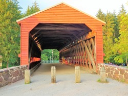 Sachs Covered Bridge, a Town truss covered bridge over Marsh Creek near Gettysburg, Adams County, Pennsylvania, USA