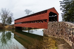 Sachs Covered Bridge in Gettysburg, Pennsylvania on a Moody Day..