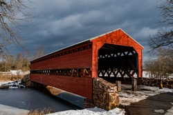 Sachs Covered Bridge Under a Metallic Winter Sky, Adams County, Pennsylvania, USA