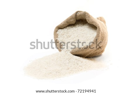 Sack and scattered rice  isolated on white background #72194941
