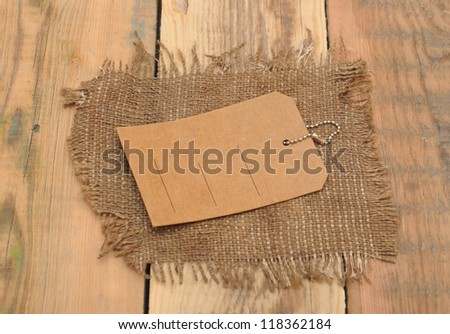 sack burlap background texture and price tag