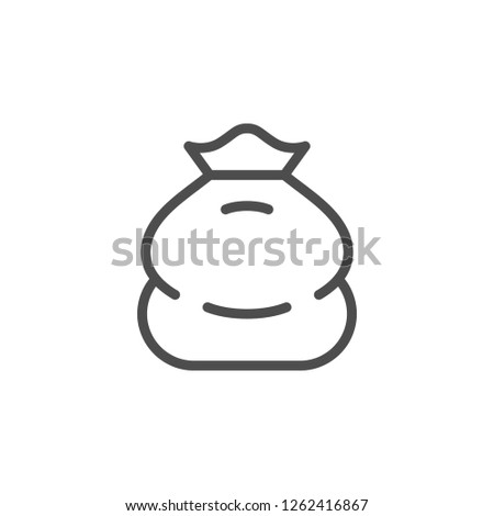 Sack line icon isolated on white