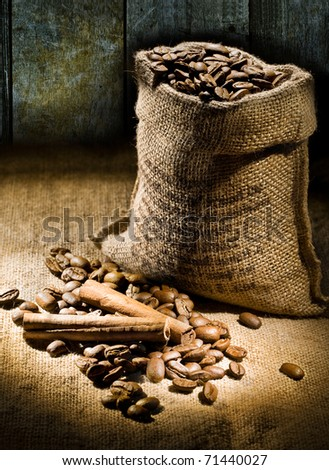 sack of coffee beans on a background of old boards