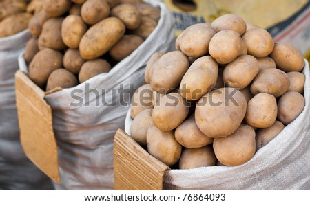 Sack of potatoes for sale on market place