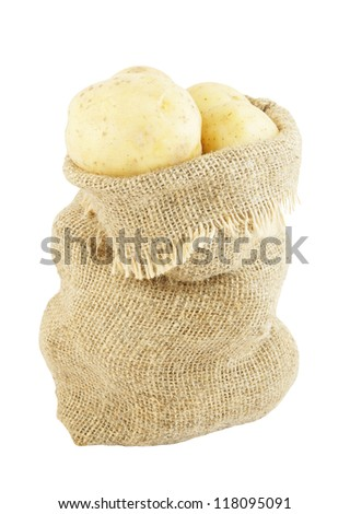 Sack of potatoes isolated on white