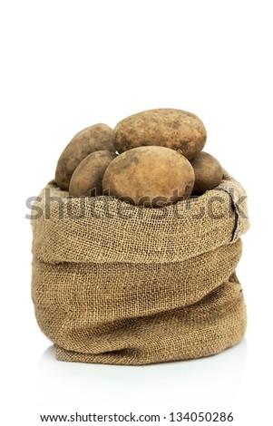 Sack of raw potatoes